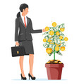 businesswoman harvests from money coin tree vector image