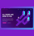 choice career ladder isometric landing page vector image vector image