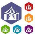 circus tent icons set vector image vector image