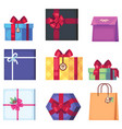 collection of different cartoon present box vector image