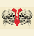 couple skulls and broken heart symbol vector image vector image