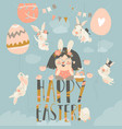 cute little girl with easter bunnies happy easter vector image vector image