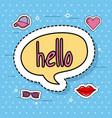 cute speech bubble hello decoration sticker vector image