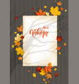 fall leaves on dark wood background vector image