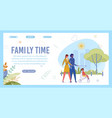 family actively spending time together walking vector image