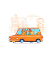 family journey by car to natureflat vector image vector image