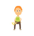 flat cartoon boy pupil isolated vector image vector image