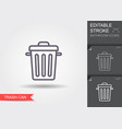 garbage can line icon with editable stroke vector image
