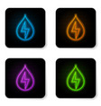 glowing neon water energy icon isolated on white vector image vector image