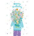 happy birthday greeting card guest with flower vector image vector image