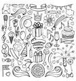 happy birthday hand drawn set vector image