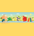 happy couple enjoying water park attractions flat vector image