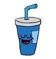 happy freehand drawn cartoon soda vector image vector image