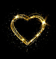 heart with gold light glitter golden heart frame vector image vector image