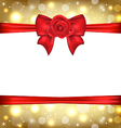 Holiday glossy packing with gift bow and rose vector image vector image