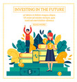 investment scene with young boy and girl holding vector image vector image