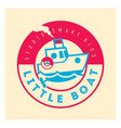 kids club logo with little boat cute kindergarten vector image