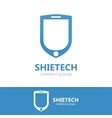 logo combination of a shield and phone vector image vector image