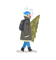 man in winter clothing carrying christmas fir tree vector image vector image