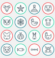 nature icons set with arachnid spider web rabbit vector image vector image