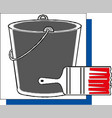 paint brushes with bucket and paints vector image vector image