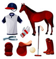 polo game equipment sport tools set icons vector image vector image