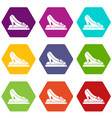 princess shoes icons set 9 vector image