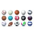 realistic sport balls 3d equipment for football vector image vector image