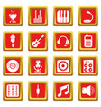 recording studio symbols icons set red square vector image vector image