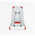 red supermarket shopping cart 3d top view vector image