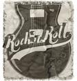 rockn roll poster guitar graphic design tee art vector image