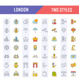 set flat line icons london vector image vector image
