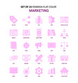 set of 25 feminish marketing flat color pink icon vector image