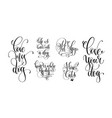 set of hand lettering positive quotes about dog vector image vector image