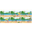 set of summer beach scene vector image vector image