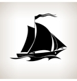 Silhouette sailing vessel on a light background vector image