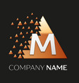 silver letter m logo symbol in the triangle shape vector image vector image