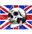 skull with a england flag in background vector image vector image