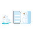 snowman melts and snowman in fridge snow rescue vector image vector image