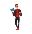 student young man in glasses reading a book vector image vector image