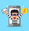 Thief stealing mail and money from smartphone vector image vector image