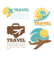 travel agency isolated icons plane and flight vector image