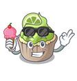 with ice cream lemon cupcake character cartoon vector image