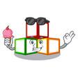 with ice cream toy blocks cube blank cartoon vector image