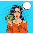 young pretty woman with money pop art