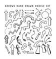 Hand drawn arrows doodle set vector image