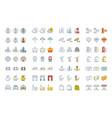 set flat line icons london vector image