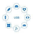 8 usb icons vector image vector image