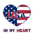 american flag heart vector image vector image