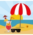 beach sea sand glasses and cocktail summer vector image vector image